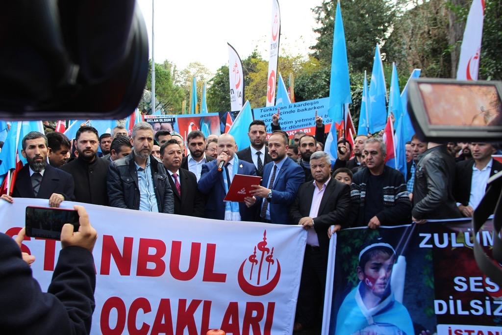 3ED3B766-A5B9-48E3-86F3-77B57A7170B8 Alperen Ocakları Çin'in İstanbul konsolosluğu önünde protesto ve basın açıklaması