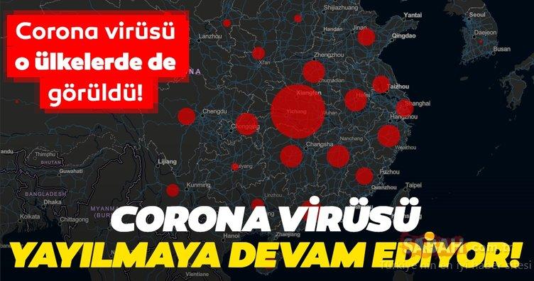 coronavirusu Çin Corona virüsü salgını dünyaya yayılmaya devam ediyor! Korono virüsü haritasını paylaştılar
